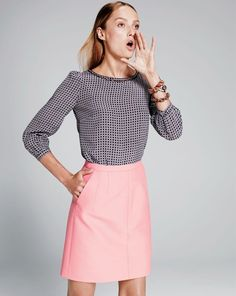 J.Crew scalloped cutout silk top in octagonal dot. I am just in love with J.Crew.. Enough said