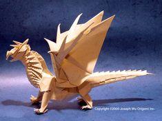 Origami Dragon Origami Dragon - Fantasy Gaming Miniature by Joseph Wu Origami Dragon, Origami Fish, Origami Box, Oragami, Folded Paper Flowers, Origami Flowers, Origami Shapes, Origami Envelope, Origami Models