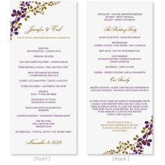 Printable Wedding Program Pdf Template  Swirls Golden  Instant