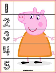 Peppa Pig Number Puzzles - Activities For Toddlers With Autism Preschool worksheets to help your little one develop early learning skills. Try these preschool worksheets to help your child learn about letters, numbers, and more. Numbers Preschool, Kindergarten Worksheets, Toddler Activities, Learning Activities, Preschool Activities, Kids Learning, Is My Child Autistic, Children With Autism, Down Syndrom