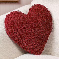 "Red Heart Chenille Pillow 14""L x 14""W x 2 1/2""D   $10.75 OrientalTrading.com"