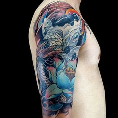 SEASON 5/RIVALS...Artist Portfolio: Jason Clay Dunn..JAPANESE WEEK Koi Tattoo Sleeve, Shoulder Sleeve Tattoos, Shoulder Armor Tattoo, Japanese Tiger Tattoo, Japanese Flower Tattoo, Japanese Sleeve Tattoos, Coy Fish Tattoos, Body Art Tattoos, Cover Up Tattoos