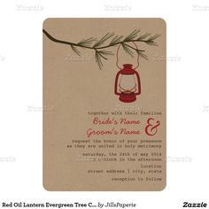 Red Oil Lantern Evergreen Tree Camping Wedding 5x7 Paper Invitation Card