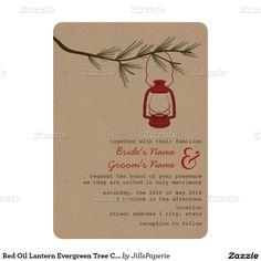 Red Oil Lantern Evergreen Tree Camping Wedding 5x7 Paper Invitation Card