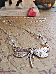 Silver Dragonfly with Clear and Pink Swarovski by RebeccasWhims, $15.00