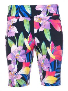 #lorisgolfshoppe Women's Golf Apparel offers a classy collection of golf skorts, shorts, dresses, and golf tops. You gotta see this Black Multi Ibkul Ladies Rio Print Pull On Golf Shorts with unique , pretty prints and colors!