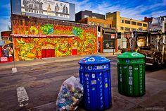 New York City - A fun brooklyn street with trash, garbage and rubbish