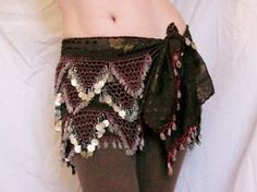 Unique brown and silver tribal hip scarf / bellydance
