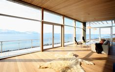The comfortable sauna offers a private exit to the outdoors (right into the fresh snow or to the spa-bath). With the higher length of the structure, this cabin can show its floor to ceiling glass on t Hydronic Heating, Dog Salon, Lots Of Windows, Inside Outside, Snowy Mountains, Sea Fishing, Beautiful Sky, Mountain View, The Fresh