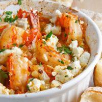 Garides Saganaki (Shrimp baked in tomato sauce with feta)
