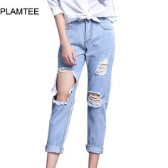 915afb8fcb233 Boyfriend Hole Ripped Jeans Women Cool Low Waist Denim Harem Jean For Female  2017 Spring Vintage Ankle Length Pantalon Femme-in Jeans from Women s  Clothing ...