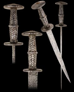 "A South German Rondel Dagger, first half of the 15th century Inlaid with decorative silver wire Overall length: 44.6 cm (17.6""); Blade length: 33 cm (13"") Located at Reichsstadtmuseum Rothenburg, Germany"