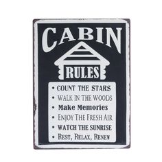 """This sign is perfect to remind you and your guests about the rules of the cabin! Embossed & distressed to look vintage. Measures: 10 ¼"""" W x 13 ¾"""" H Cabin Rules Sign by BUDD + FINN. Home & Gifts - Home Decor Portland, Oregon Walk In The Woods, Cabins In The Woods, Diy Rustic Decor, Rustic Crafts, Decor Crafts, Wood Crafts, Lake Cabins, Mountain Cabins, Creative Co Op"""