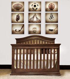 ON SALE The Sports Collection, Set of Nine 8x10 prints, Nursery Decor, Rustic Decor, Vintage Sports Decor, Sports Room, Sports Art