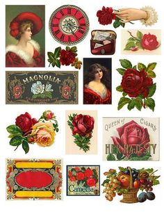 """Here is a free collage sheet of vintage graphics including roses, ladies, fruit and labels. The sheet is printable at 8.5"""" x 11"""" and is in .jpg format. Enjoy! &"""