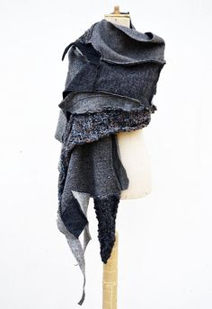 Wool Felt Hand knited shawl Cozy warm grey silver by ZOJKAshop