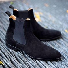Handmade Men black Suede leather casual ankle boots, Men suede Chelsea boots sold by Rangoli Collection. Shop more products from Rangoli Collection on Storenvy, the home of independent small businesses all over the world. High Ankle Boots, Black Suede Boots, Ankle Boots For Men, Blue Suede, Fashion Boots, Sneakers Fashion, Mens Fashion, Women's Sneakers, Sneakers Design