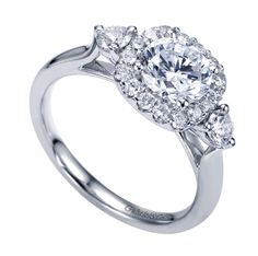 Style ER8668W44JJ 14K White Gold Contemporary Halo Engagement Ring TDW: 0.65 carats