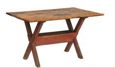 Lot C. New England Pine Sawbuck Table - Willis Henry Auctions, Inc. Primitive Tables, Primitive Dining Rooms, Primitive Gatherings, Primitive Kitchen, Primitive Furniture, Primitive Antiques, Antique Furniture, Primitive Decor, Table And Chairs