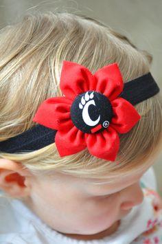 Cincinnati Bearcats fabric flower baby headband by JunebugTrends