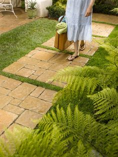 10 Front Walkways For Maximum Curb Appeal: Front Walkway Idea: Grass Between Pavers or Pavers Between Grass? Backyard Walkway, Outdoor Walkway, Paver Walkway, Front Walkway, Walkway Ideas, Patio Ideas, Backyard Ideas, Walkway Designs, Backyard Decorations
