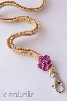 Crochet Lanyard (neckband) by Anabelia Crochet Case, Love Crochet, Crochet Gifts, Diy Crochet, Crochet Flowers, Crochet Stitches, Crochet Patterns, Crochet Teacher Gifts, Crochet Lanyard