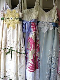 Pink floral vintage slip dress Prairie Flower by LilyWhitepad