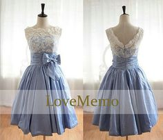 Babyblue/light blue formal halter short A-line prom/evening/party/bridesmaid/dress/ballgown knee-length on Etsy, $88.00