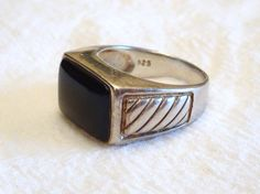 Vintage Mens Sterling Silver Black Onyx Ring Rectangle~Vintage Sterling Silver ~Vintage Mens Rings ~ by SimplyAgain on Etsy