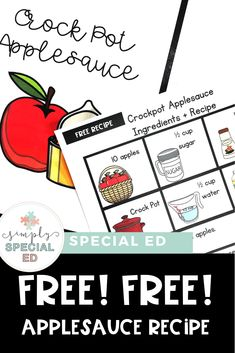 This FREE applesauce recipe is great for a special education or early childhood classroom or homeschool. Click through to sign up for the download freebie. It's great at elementary, middle, or high school - depending on the life skills needs of kids. Use it in fall or any time of year where you want to focus on cooking skills. #SpecialEducation #LifeSkills #EarlyChildhood #ApplesauceRecipe #MakingApplesauce Middle School Classroom, High School, Cooking In The Classroom, Teaching Special Education, Special Needs Students, Teacher Hacks, Life Skills, Teacher Resources, Early Childhood