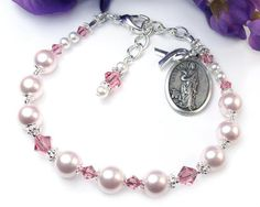 Pink Awareness Chaplet Bracelet, St. Agatha Medal, Adjustable, Breast Cancer Support, Swarovski Pearls, Crystals, Handmade #Jewelry By @Prett
