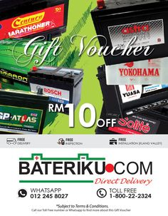 Our Gift Voucher is valid until 31 December 2015. Find out more on how to grab this Gift Voucher. #car battery delivery #free delivery #inspection #installation #bateri kereta #pemasangan di lokasi #shah alam #klang valley #onsite #kuala lumpur #selangor