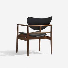 Finn Juhl armchair, model NV-48   Niels Vodder   Denmark, 1948   stained teak, leather   27 w x 25 d x 32 h inches   Signed with branded manufacturer's mark to frame: [Niels Vodder Cabinetmaker Copenhagen Denmark Design Finn Juhl].