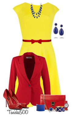 """""""Primary Colors!!:)"""" by tanisha500 ❤ liked on Polyvore featuring Ted Baker, ONLY, Alice + Olivia, CHARLES & KEITH, Aspinal of London, Charlotte Russe, Kenneth Jay Lane, UNEARTHED, Blue Nile and Shinola"""