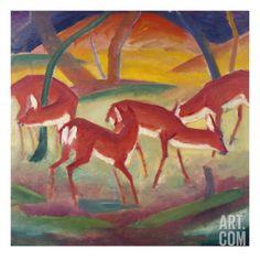 Expressionist Landscape Wall Art - Painting - Red Deer 1 by Franz Marc Franz Marc, Wassily Kandinsky, Cavalier Bleu, Blue Rider, Red Deer, Art Graphique, Oeuvre D'art, Impressionism, Find Art