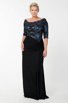 Sequin Lace Asymmetric Gown in Prussian Blue / Black - Plus Size Evening Shop | Tadashi Shoji
