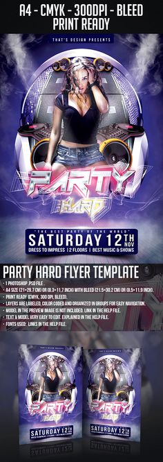 Dance Party Flyer Template | Party Flyer, Flyer Template And Print
