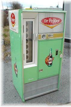 Dr Pepper vending machine. Restored 60s square top soda vending machine