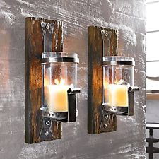 Rustic Wooden Wall Pillar Candle Holder Sconce Wood Iron Vintage Gothic Ornament