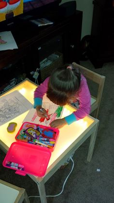 """DIY IKEA light table: LATT children's table/chairs. ($24.99 CND), 2 sets DIODER LED lights ($39.99 CND each), 18""""x 24""""OPTIX Acrylic sheet (thicker than .080"""" - $13.99 CND each - Home Depot), Rust-Oleum Frosted Glass Finish spray paint ($7.97)"""