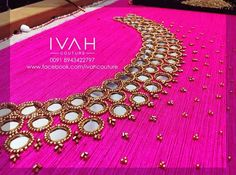 Stylish Dress Designs, Simple Blouse Designs, Fancy Blouse Designs, Bridal Blouse Designs, Kurti Embroidery Design, Hand Embroidery Dress, Embroidery Neck Designs, Embroidered Blouse, Salwar Neck Designs