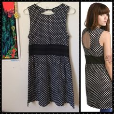 Free People Polka Dot Striped Keyhole Back Dress EUC❤️ very lightweight material. Free People Dresses