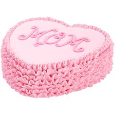 "Ruffled Heart ""Mom"" Cake  - A symbol of Mom's love, this heart-shaped cake is elegant and pretty. The Decorator Preferred Heart Pan and plenty of buttercream icing make this treat come together easily for Mother's Day."