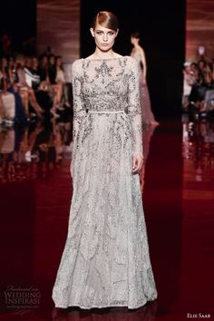 elie saab fall winter 2013 2014 couture long sleeve gown embellished bodice