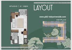 Tipe Unit Studio 21 m2 apartemen Tokyo Riverside PIK 2 Jakarta