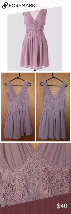 """Leah Lace Dress * Condition: New. Never worn.  * Color: Mauve (or dusty mauve color) * 100% Polyester  * Sheer lace overlay around the waist and pleat details for a flowy feel * V-cut neckline and back and an exposed back zipper closure * 30"""" bust 28.5"""" waist 33.5"""" length from top of shoulder * All items from a smoke free home. Double Zero Dresses"""
