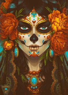 Skeleton Love, Skeleton Art, Sugar Skull Images, Mexican Artwork, Mexican Art Tattoos, Sugar Skull Girl, Steampunk Halloween, Crane, Day Of The Dead Art