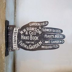 Antique Sign ~ Hand Book for the Farm & Garden..so cool, figural, primitive!!!!