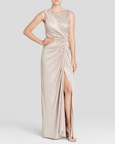 Adrianna Papell Sleeveless Lace & Matte Jersey Gown