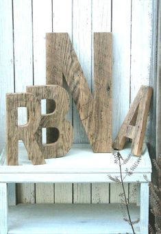 Barn wood letters for the initial signs